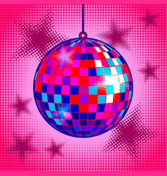 Disco ball comic book style vector