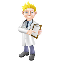 Doctor pointing at clipboard vector