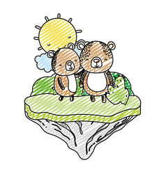 doodle couple bear animal in the float island vector image