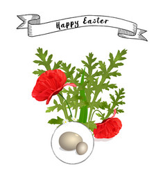 Easter floral background with poppies vector