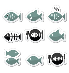 Fish fish on plate skeleton icons vector image