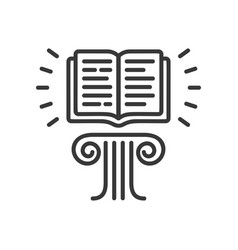 flying book - modern single line icon vector image