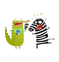 fun crocodile eating zebra cartoon vector image