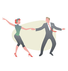 funny couple wearing retro clothes dancing jazz vector image