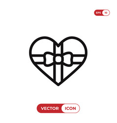gift in heart shape box icon vector image