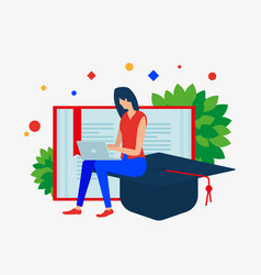 girl with the notebook book and graduates cap vector image