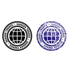 Global danger trends stamp with distress effect vector