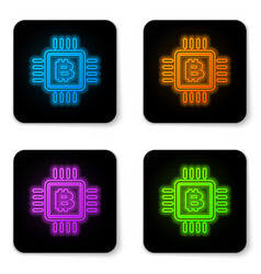glowing neon cpu mining farm icon isolated on vector image