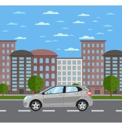 Gray universal citycar on road in city vector