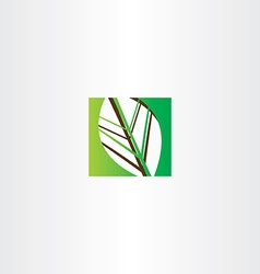 green square leaf icon vector image