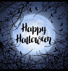 halloween background with moon and tree branches vector image