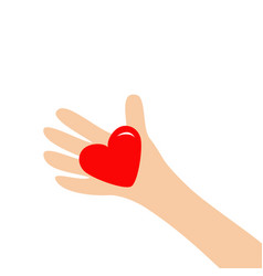 Hand arm holding red shining heart shape sign vector
