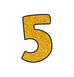 Hand drawn golden number 5 isolated on white vector