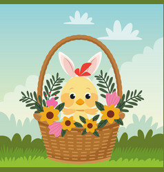 happy easter card with little chick and ears vector image