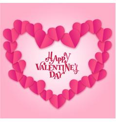 Happy valentines day mini pink heart around pink b vector