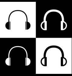 headphones sign black and vector image