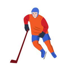 hockey player in orange uniform quickly skates vector image