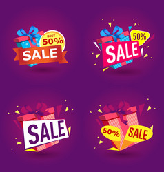 holiday sale stickers in trendy style vector image