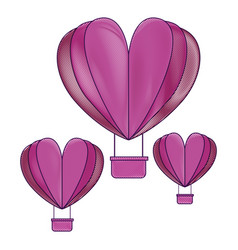 hot air balloons flying with heart shape vector image