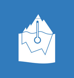 Icon iceberg and thermometer vector