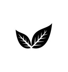 leaf icon in flat style for app ui websites black vector image