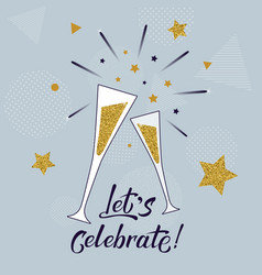 Lets celebrate hand lettering template vector