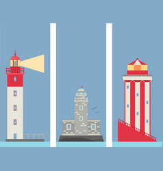 Lighthouses banner flat searchlight towers vector