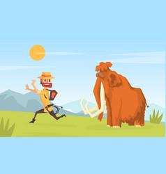 Man archeologist running away from mammoth vector