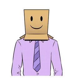 Man with box happy emoji on head pop art vector