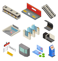 metro station 3d icons set isometric view vector image