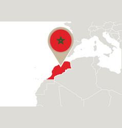 Morocco on world map vector