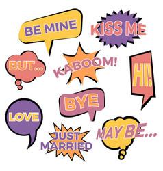 nine cartoon comic balloon speech bubbles vector image