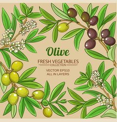 Olive branches frame on color background vector