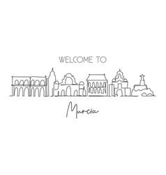 one single line drawing murcia city skyline spain vector image