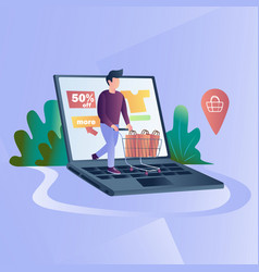online clothing store mobile online shopping vector image