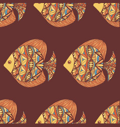 ornated fish pattern with brown background vector image