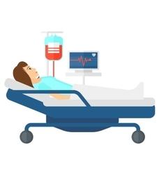 Patient lying in bed vector