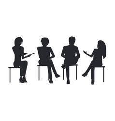 People black silhouettes at business training sit vector