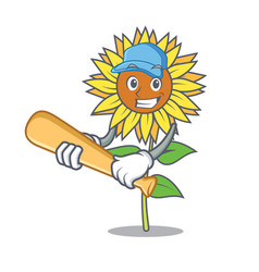 Playing baseball sunflower character cartoon style vector
