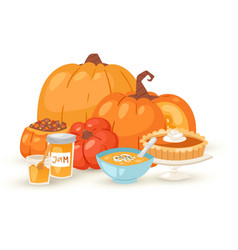pumpkins food dishes isolated vector image