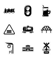 Railroad icons set simple style vector