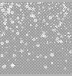 realistic falling white snow overlay vector image