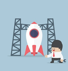 Rocket startup Businessman build space shuttle vector image