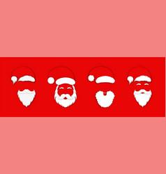 santa claus hat with beard set christmas santa vector image