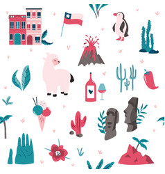 Seamless pattern with famous landmarks and symbols vector