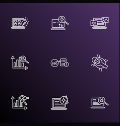 seo icons line style set with bug fixing keyword vector image
