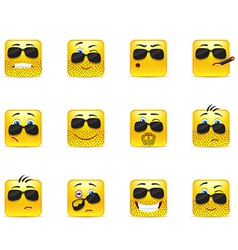 Set inspirational bearded emoticons vector image