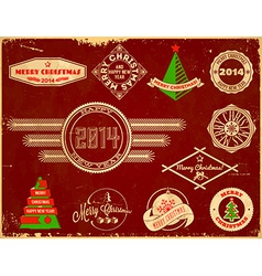 Set of Christmas vintage labels vector image vector image