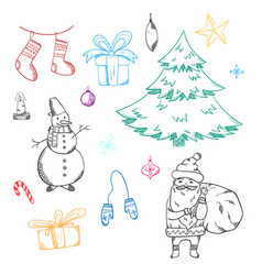 set of cute doodle christmas elements vector image