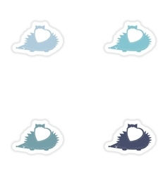 Set of paper stickers on white background hedgehog vector